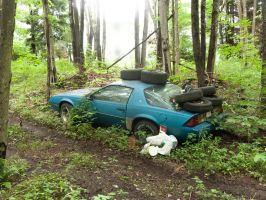 Abandoned Blue Car 1 by RowyeStock