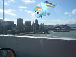 Just a Giant Rainbow Dash over San Francisco. by xXSilentStarXx