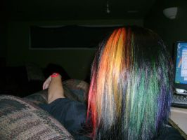 Rainbow hair. by CupCakeMonsterCrafts