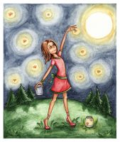 Picking fireflies- Ilona-S by childrensillustrator