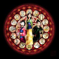 (Retouched) Mulan stained glass by MaeMaeTwin
