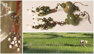 Flooded Field earrings by TheBrassGlass