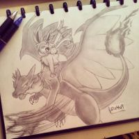 Mega Charizard X and Sylveon in battle by atta9