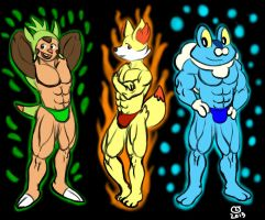 Anthro Pokemon: XY Starters by CaseyLJones
