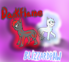 Darkflame and Blizzardpaw by CosmicClaw-Warrior