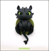 Nightfury #5 - Polymer Clay Charm by buzhandmade