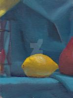 Still Life with Lemon and Teal Drape by TanisaurusRex