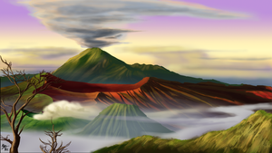 Digital Painting Exercise 4: Mount Semeru by a3dkid