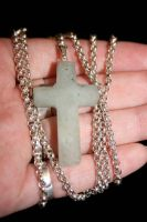 Stone cross and silver chain by LARvonCL