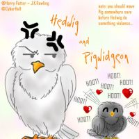 Hedwig and Pigwidgeon by cyberhell