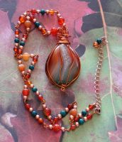 Wire Wapped Agate Necklace by cjgrand