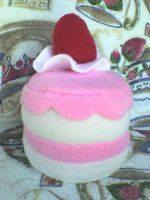 Cute strawberry cake plushie by VioletLunchell