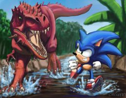 Sonic and a rex by NetRaptor