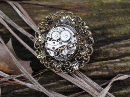 Steampunk flower ring by Hiddendemon-666