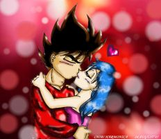 Vegeta and Bulma kissing by princesstressa