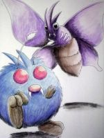 Venonat and Venomoth by pie-lord