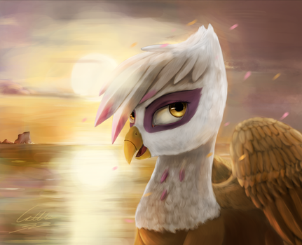 Sun with griffin by Cattle32