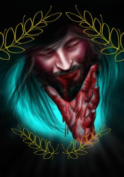 Jesus and Blood by guinhotattoo