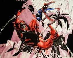 Deadpool vs Spider-man by pikapikaichigo