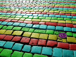 Rainbow Cobbles by ChubbaART