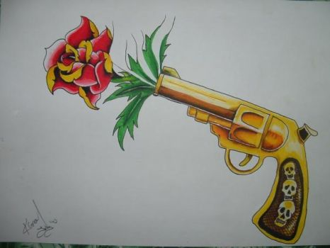 Guns and a rose by nightmare58710