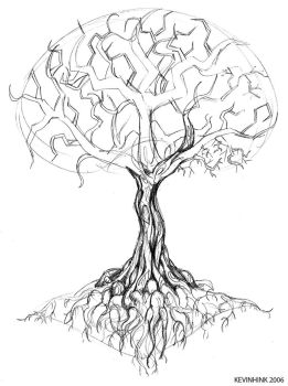 Oak Tree Tattoo Sketch by Kevinhink