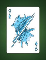 9 of spades aka 9 of water by LineDetail