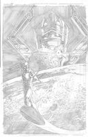 Silver Surfer with Galactus by Theamat