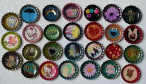 misc. bottlecap magnets by bonnyblue22