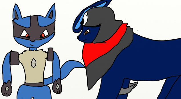 Lucario and Wolf practice by Wolf-The-Absol