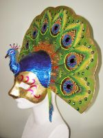 Papier mache and beaded mask by Priscillascreations