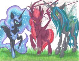 [Commish] The Three Mistresses of Darkness by KyuremGirl