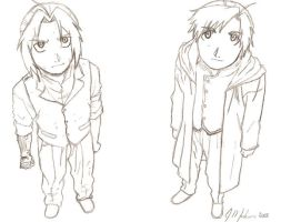 Edward and Alphonse Elric by miss-bunnie
