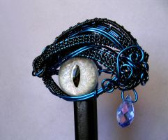 Gothic Hair Stick Pin - Wire Wrapped Dragon Eye by LadyPirotessa