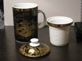 Tea Mug Black Dragon 02 by Ghost-Stock