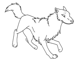 """Prancing"" Wolf Lineart by thefireflii"