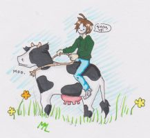 cry riding a cow by SourKiss