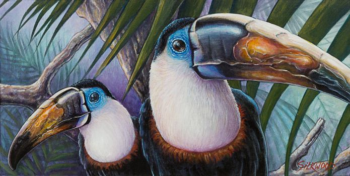 TWO TOUCANS IN A TREE by Gallery-of-Art