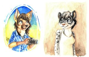 Eli and Diana, traditional badges by pandapaco