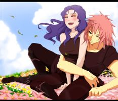 Marluxia and Kesani by annria2002