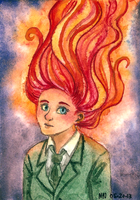 Aceo 39 - Fire Head Girl by SailingBreezes