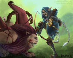 Sharpshooter vs. Manticore by AugustAnna