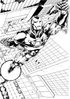 An Iron Man piece inked by me by Cadre