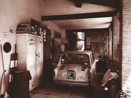 Garage with an old car by Dreefire