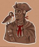 Haytham and a puffin - sketch by KupiecKorzenny