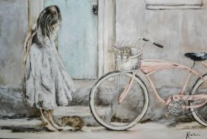 girl with bike by Kariennel