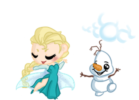 COMMISSION: Queen Elsa and Olaf by Ijen-Ekusas