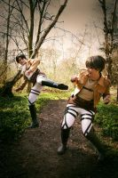 Attack on Titan Cosplay: Levi and Eren by GoldenMochi