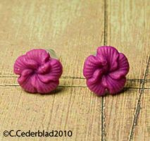 Pink flower earrings earstuds by skuggsida