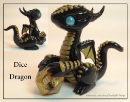 Polymer Clay Dice Dragon Black and Gold by ShaidySkyDesign